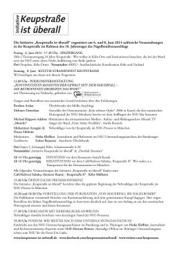 """""""Keupstraße ist überall"""" organisiert am 6. und 8. Juni 2014"""