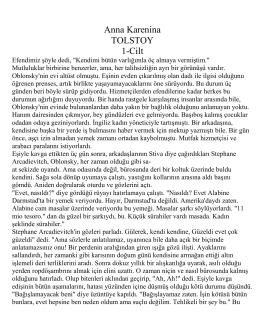 Anna Karenina TOLSTOY 1-Cilt