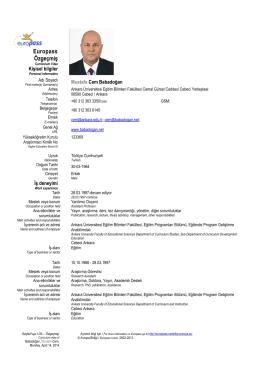 Europass Curriculum Vitae - Kişisel CV Sayfası Erişim bilgil