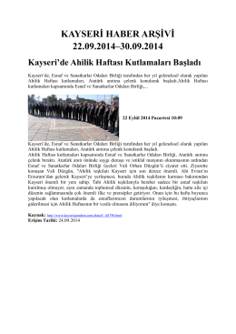 kayseri haber arşivi 22.09.2014–30.09.2014 - Kayham