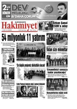 19 Mart 2014 Çarşamba - Çorum Hakimiyet Gazetesi