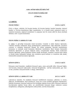 Ders İçerikleri - Gıda Mühendisliği Bölümü