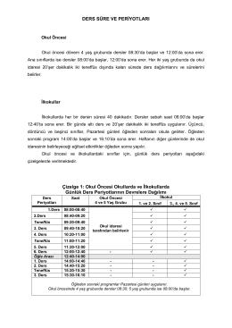 Çalışma Takvimi 2014-2015 - KKTC Milli Eğitim, Gençlik ve Spor