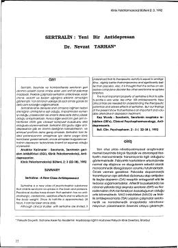SERTRALİN - Klinik Psikofarmakoloji Bülteni
