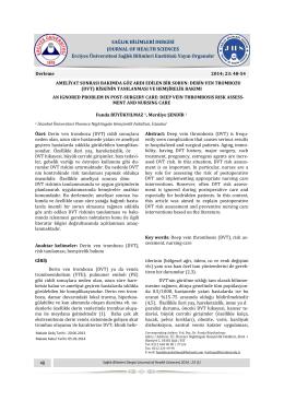 derin ven trombozu (dvt) - Sağlık Bilimleri Enstitüsü