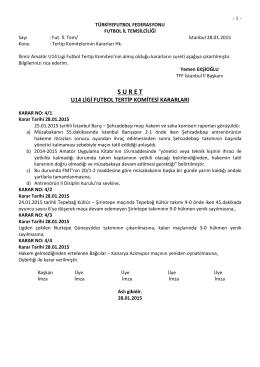 u14 tertip komitesi kararı - T.F.F. İstanbul İl Başkanlığı