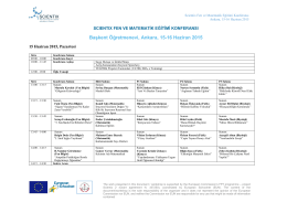 Başkent Öğretmenevi, Ankara, 15-16 Haziran 2015