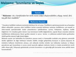 Malzeme: Tanımlama ve Seçim - Kocaeli Üniversitesi Metalurji ve