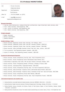 CV of Professor MAHMUT DOĞAN - Erciyes Üniversitesi | Gıda