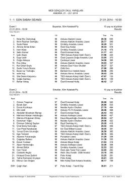 1 - 1. gün sabah seansı 21.01.2014 - 10:00