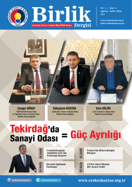 Çerkezköy TSO Birlik Dergisi 2. SayıÇerkezköy Ticaret ve Sanayi