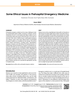 Some Ethical Issues in Prehospital Emergency