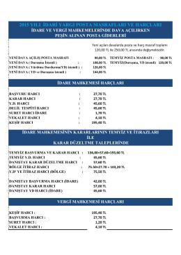2015 yılı idari yargı posta masrafları ve harçları