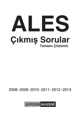 ALES Tamamı Çözümlü Çıkmış Sorular (2008 - 2013