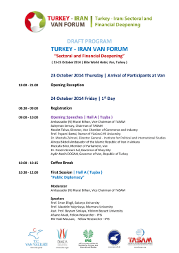 DRAFT PROGRAM TURKEY - IRAN VAN FORUM