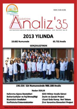 2013 Yılında 18.682 Numunede 65.732 Analiz