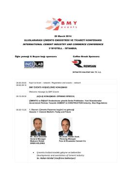 • Çimento Endüstrisindeki gelişme ve beklentiler Developments and