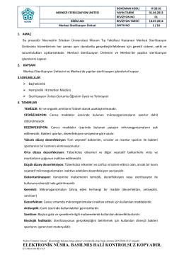 STERILIZASYON U NITESI ISLEYIS PROSEDÜRÜ