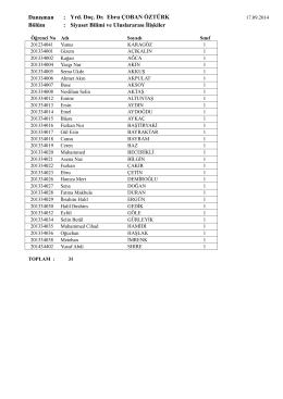 Siyaset Bilimi ve Uluslararası ilişkiler Bölümü danışman listeleri için
