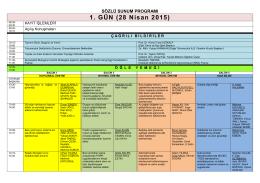 Sözlü Sunum Taslak Programı - İç Anadolu Bölgesi 2. Tarım ve Gıda