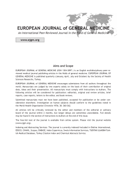 Contents/Index File - European Journal of General Medicine