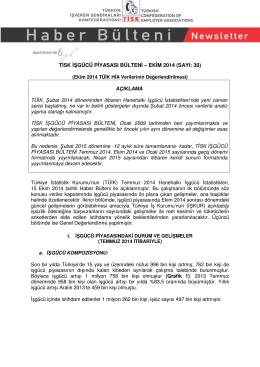 Tisk İşgücü Piyasası Bülteni - Ekim 2014 Dökümanı İçin Tıklayınız