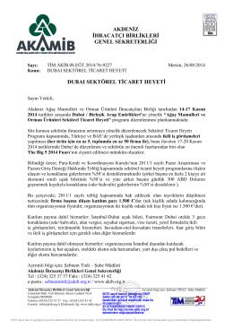 akdeniz ihracatçı birlikleri genel sekreterliği dubaı sektörel ticaret