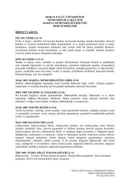 TR - Makina Mühendisliği - Dokuz Eylül Üniversitesi