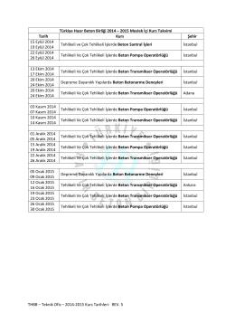2014 - 2015 Dönemi Meslek İçi Kurs Programı