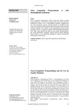 nöro linguistik program ve aile hekimliğinde kullanımı