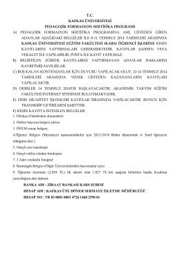 tc kafkas üniversitesi pedagojik formasyon sertifika programı a