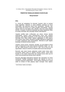 C.C.Aktan (Ed.), Yoksullukla Mücadele Stratejileri, Ankara: Hak-İş