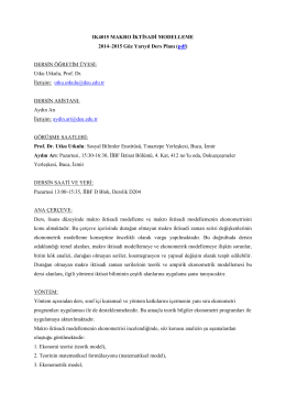 (pdf) DERSİN ÖĞRETİM ÜYESİ: Utku Utkulu, Prof. D