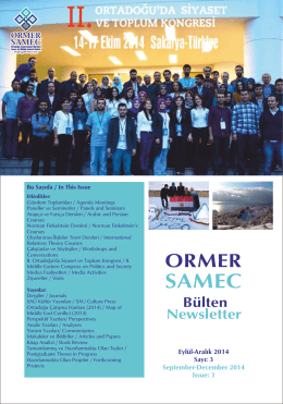 ORMER SAMEC Bülten Newsletter