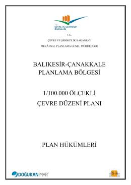 BALIKESİR PLANLAMA BÖL 1/100.000 ÖLÇE ÇEVRE DÜZENİ P