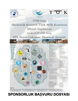 Sponsor Başvuru Dosyası - TOK 2015 Türk Otomatik Kontrol Ulusal