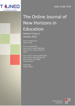 0 www. tojned. net The Online Journal of New Horizons in Education
