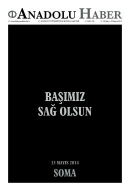 13 mayıs 2014 - Anadolu Haber Gazetesi