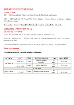 iyte ydyo üçüncü vize sınavı ıztech sfl 3 monthly exam