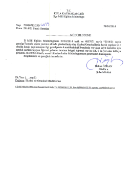 2014-21 Sayılı Genelge - Kula İlçe Milli Eğitim Müdürlüğü
