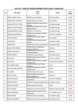 2014 yılı yönetici değerlendirme sözlü sınav sonuçları