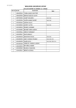 mbl dönem 1 liste