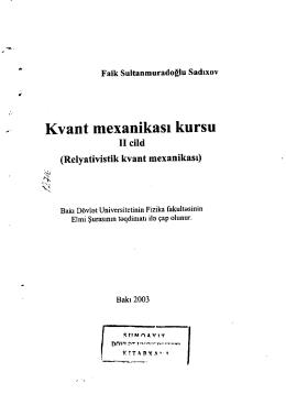Kvant mexanikasl kursu - SDU