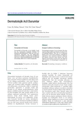 Dermatolojik Acil Durumlar