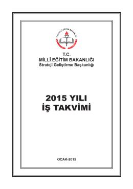 MEB 2015 Yılı İş Takvimi - Strateji Geliştirme Başkanlığı