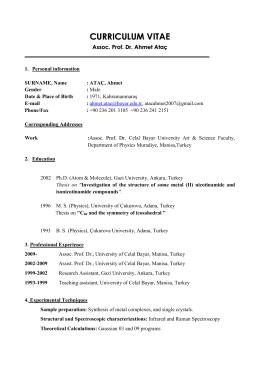 CV of Res - Celal Bayar Üniversitesi Manisa Meslek Yüksekokulu