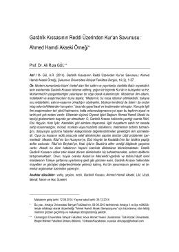 1. KISIM (sayfa 1-190) - Çukurova Üniversitesi İlahiyat Fakültesi