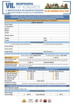 Kayıt Formu - 7. Uluslararası Mezopotamya Tıp Kongresi