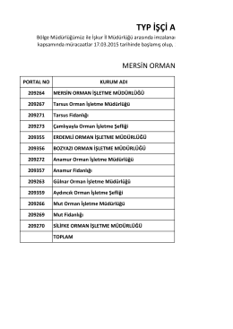 TYP İŞÇİ ALIMI İLE İLGİ - Mersin Orman Bölge Müdürlüğü