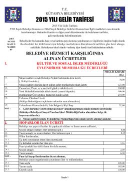 Belediye Gelir Tarifesi